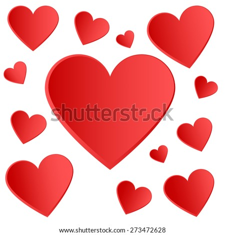 Red hearts - seamless love vector pattern - stock vector