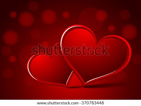 Red hearts valentine - stock vector