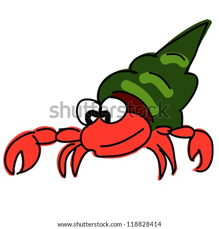 red hermit crab - stock vector