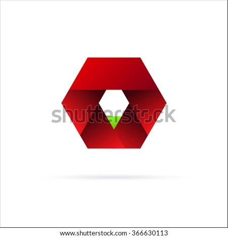 Red Hexagon Logo Template Element Sign Stock Vector 366630113