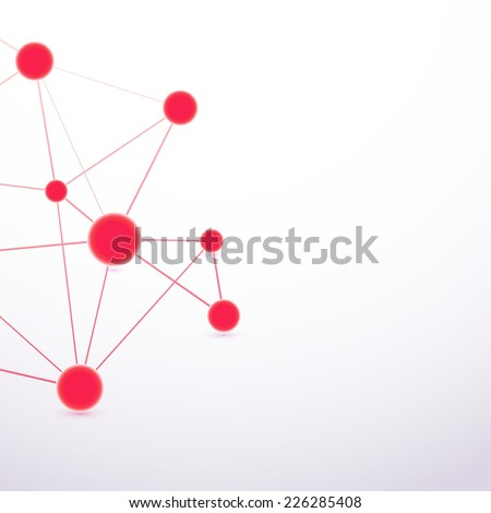 Red hi-tech molecule cell abstract connection. Vector illustration - stock vector