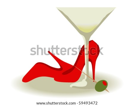 Red High Heels and a Martini - stock vector