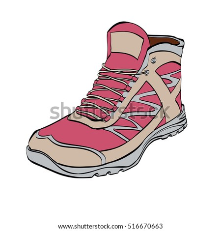 Red Hiking sneakers, shoes, color vector illustration isolated