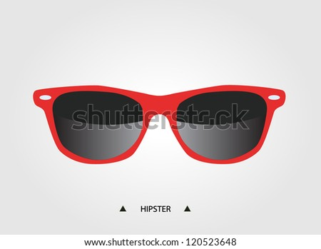 Red hipster glasses - trendy fashion of youth - stock vector