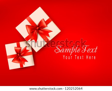 Red holiday background with gift boxes with red bow. Vector illustration - stock vector