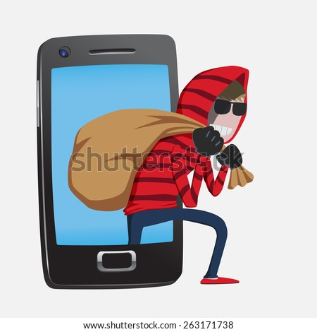Red hood Hacker step out of smart phone screen after his criminal activity crack, spam, stealing money ,account password, personal data - stock vector