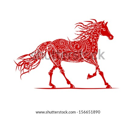 Red horse with floral ornament for your design. Symbol of 2014 year - stock vector