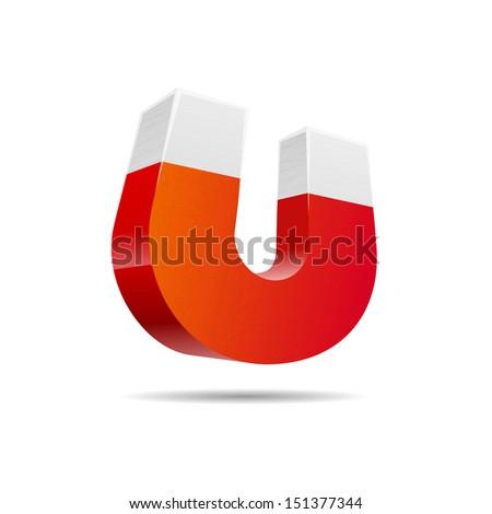 Red horseshoe magnet isolated on white background, vector illustration  - stock vector