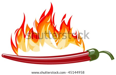 Red hot pepper with flames - stock vector