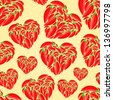 Red Hot Peppers in Shape of Heart on Yellow Background. Vector Seamless Pattern - stock photo