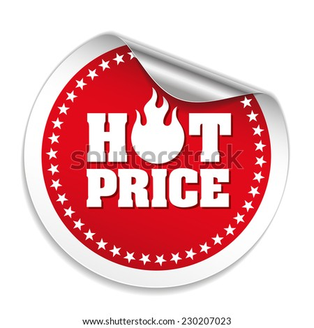 Red hot price sticker with metallic peel on white background