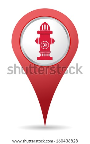 red Hydrant location icon for maps - stock vector