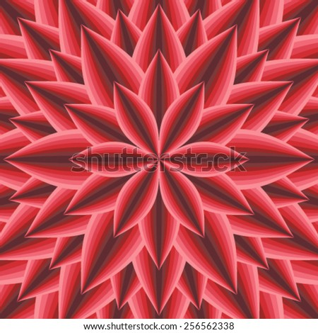 Red hypnotic floral pattern - vector illustration. - stock vector