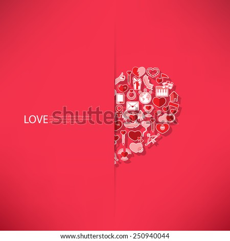 Red icon heart Valentines day card with sign on Icon love background - stock vector