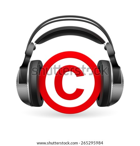 Red icon of copyright in black headphones  - stock vector