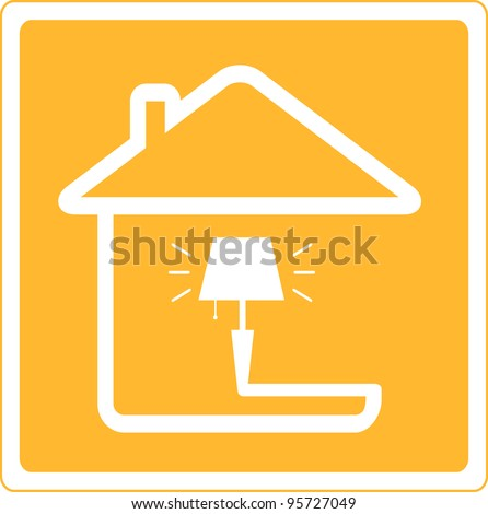 red icon with lamp and house silhouette - stock vector