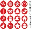 Red icons with Christmas items. - stock photo