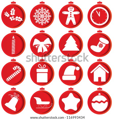 Red icons with Christmas items. - stock vector