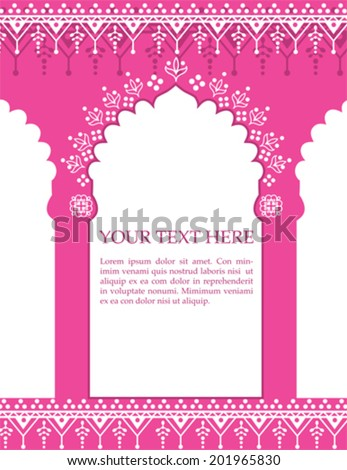 Red Indian architecture background with henna patterns and space for text - stock vector