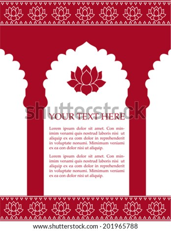 Red Indian architecture background with lotus flowers and space for text - stock vector