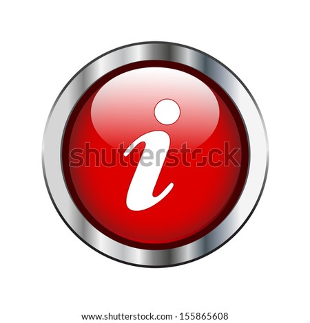 Red information icon on silver border - stock vector