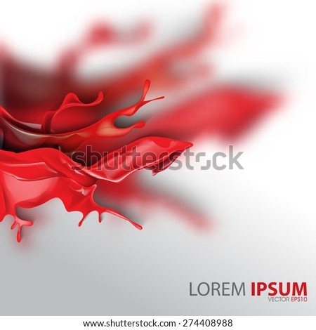 red ink flowing splatter wet paint blurred business background eps10 vector - stock vector