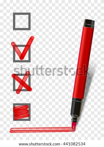red isolated marker highlighter pen with checklist, tick and underline. Vector marker exam pen  - stock vector
