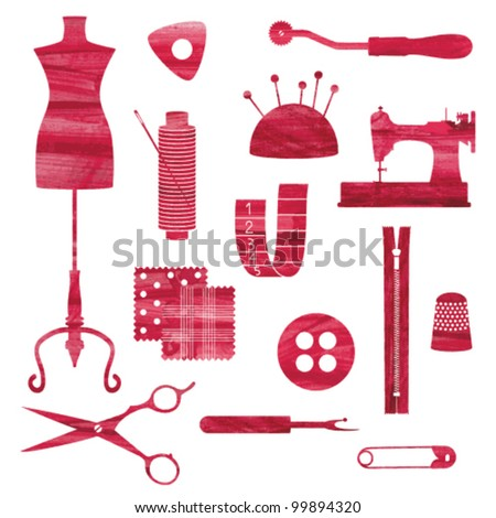 Red isolated sewing and tailoring symbols - stock vector