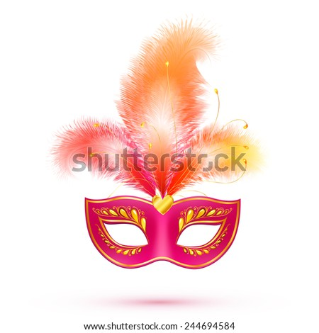 Red isolated vector carnival mask with feathers - stock vector
