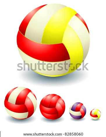 Red isolated volleyballs - stock vector