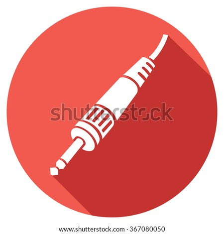 red jack audio jack flat icon (audio cables sign, jack plug and a cable flat icon, stereo plug symbol) - stock vector