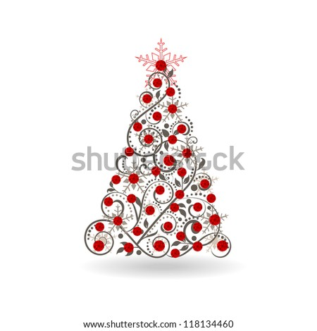 Red jeweled tree - stock vector