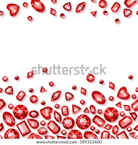 Red jewels seamless horizontal background. - stock vector