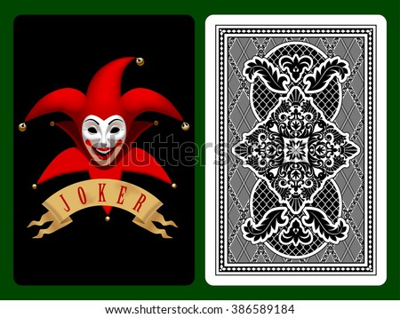 Red Joker playing card on black and backside background. Original design. Vector illustration - stock vector
