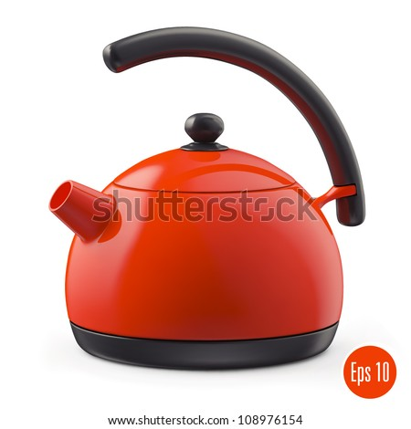 red kettle. vector - stock vector