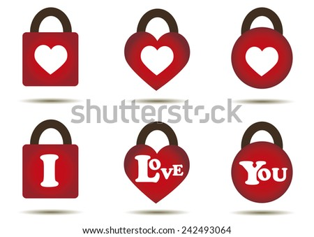 Red key in square,heart ,circle shape and text i love you on red key.  - stock vector