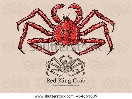 Red King Crab Vector Illustration Artwork Stock Vector 454663639 - Shutterstock