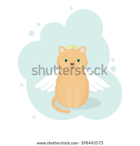 Red kitten in an angel costume with white wings and golden nimbus above its head. Vector illustration.