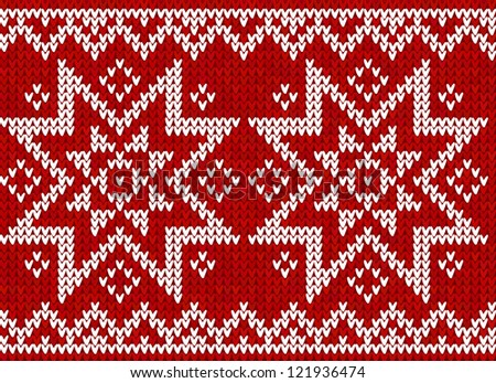 Red knit with stars in Norwegian style, vector seamless pattern - stock vector