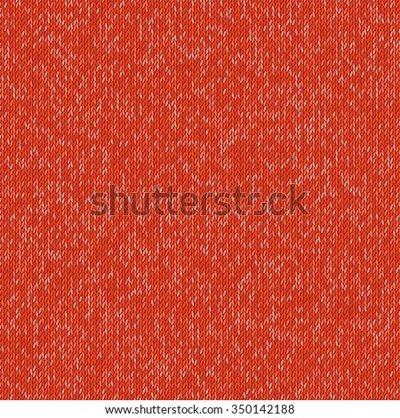 Red knited pattern wool warm texture. Vector fabric background. Eps10 - stock vector