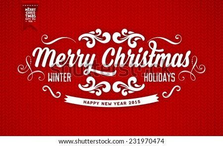 Red Knitted Background with Christmas Label. Holiday Design - stock vector