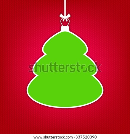 Red knitted background with empty frame as Christmas tree - stock vector