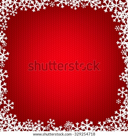 Red knitted Christmas background with snowflakes - stock vector