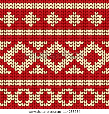 Red Knitted pattern - stock vector