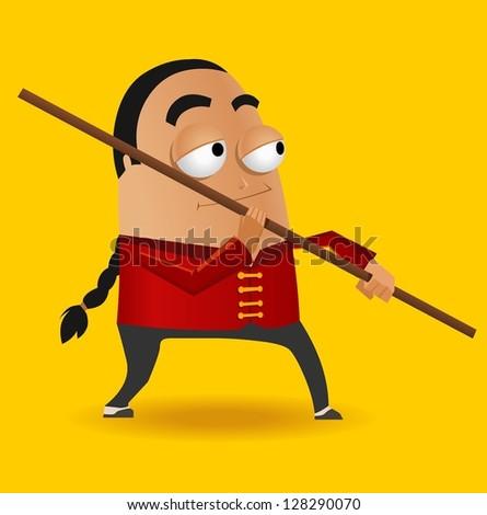 Red Kungfu Master. Vector illustration - stock vector