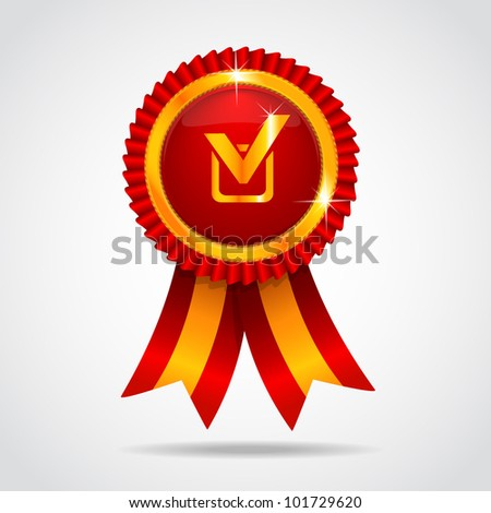 Red label with ribbon. Vector illustration. Best choice - stock vector