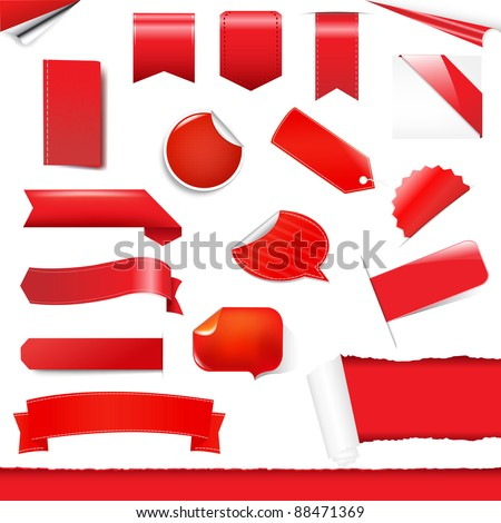 Red Labels And Stickers Set, Isolated On White Background, Vector Illustration - stock vector