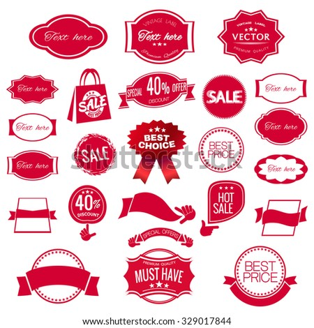red labels, best price, hot sale - stock vector