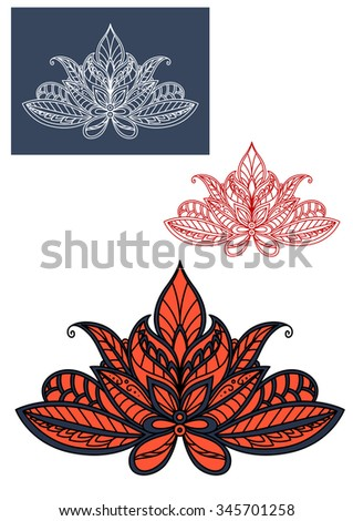 Red lace indian flower adorned by traditional paisley pattern with blue and black flourishes. For oriental interior or textile design - stock vector