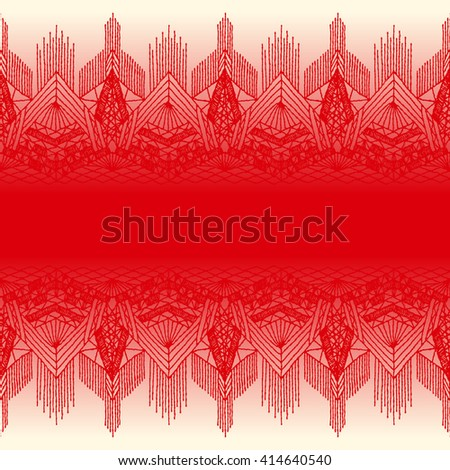 Red lace, seamless bright red lace background. Floral seamless pattern with a fringe border knitted or woven macrame in boho style - stock vector